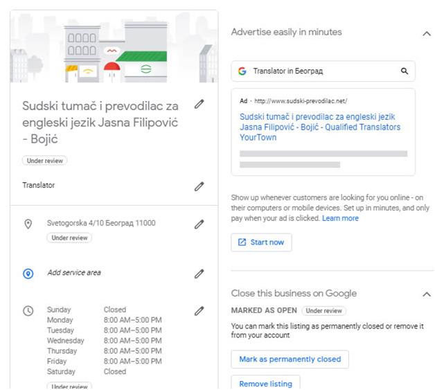 Otvaranje Google my business stranice