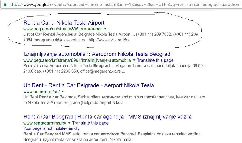 Klasicna Google pretraga